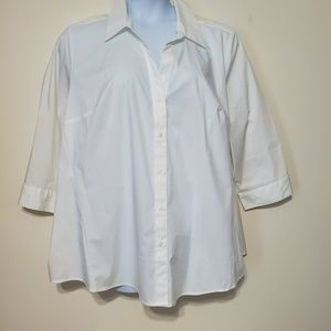 Lane Bryant button up pure white blouse shirt